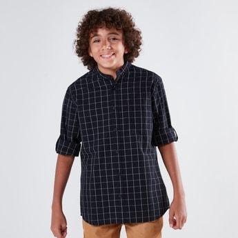 قميص كاروهات بأكمام طويلة وياقة ماندارين