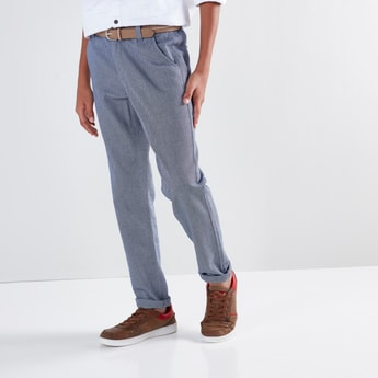 Textured Pants with Belt