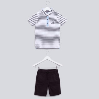Striped T-shirt with Textured Shorts Set