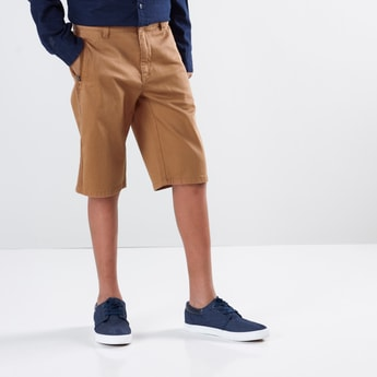Shorts with Side Tape Detail and Button Closure