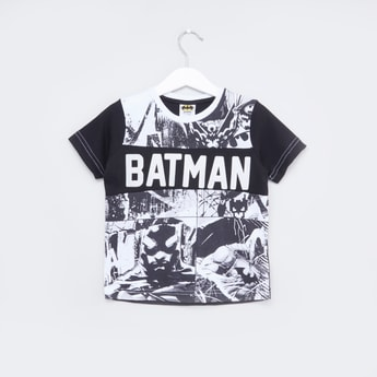 Batman Printed T-shirt with Short Sleeves