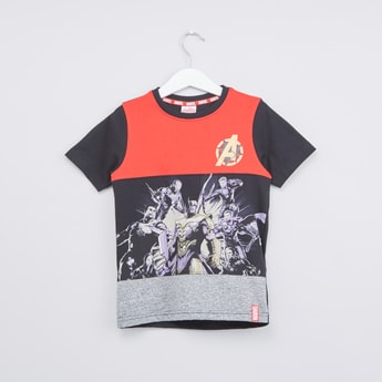 Avengers Themed Round Neck T-shirt with Short Sleeves