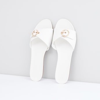 Slides with Round Buckle Detail
