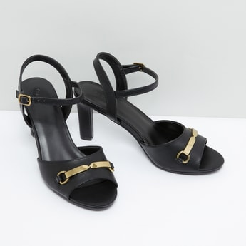 Metallic Accent Ankle Strap Sandals