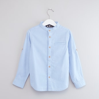 Textured Shirt with Long Sleeves and Button Placket