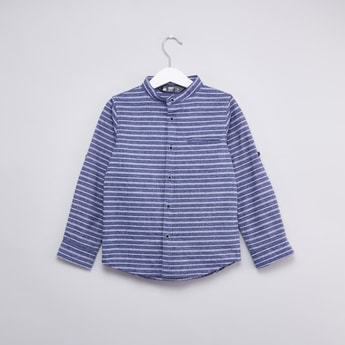 Striped Mandarin Collared Shirt with Long Sleeves and Welt Pocket