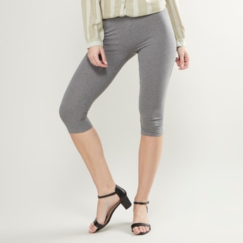 Plain 3/4 Leggings with Elasticised Waistband