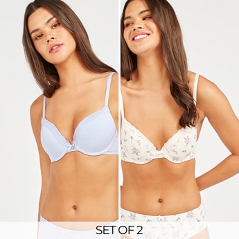 Set of 2 - Lace Detail Plunge Bra with Bow Applique