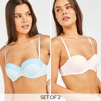 Set of 2 - Pleat Detail Balconette Bra with Adjustable Straps