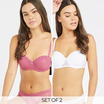 Set of 2 - Lace Detail Balconette Bra with Hook and Eye Closure