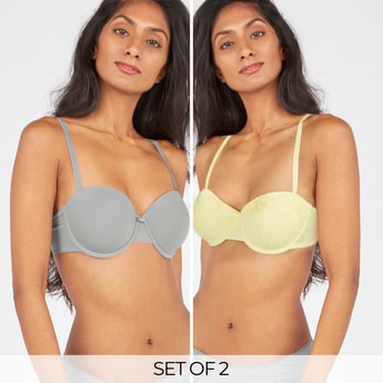 Set of 2 - Assorted Padded Balconette Bra with Bow Applique