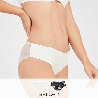 Set of 2 - Assorted Bikini Briefs with Lace Detail