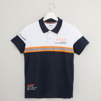 Cut and Sew Polo T-shirt with Short Sleeves