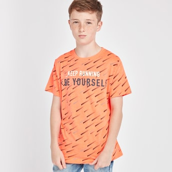 Reflective Print Round Neck T-shirt with Short Sleeves
