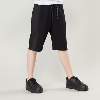 Plain Shorts with Embossed Side Tape Detail and Drawstring