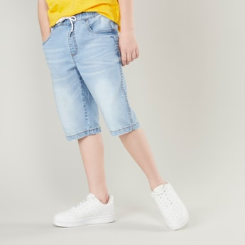Pocket Detail Denim Shorts with Drawstring