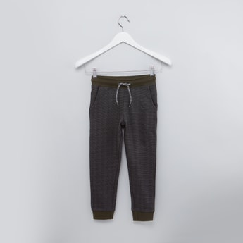 Textured Jog Pants with Drawstring and Pocket Detail