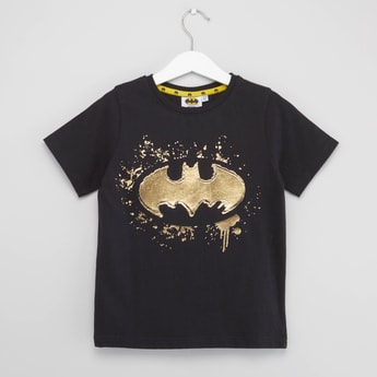 Batman Foil Print T-shirt with Short Sleeves