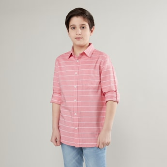 Striped Shirt with Pocket Detail and Long Sleeves