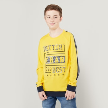 Printed Sweatshirt with Round Neck and Raglan Sleeves