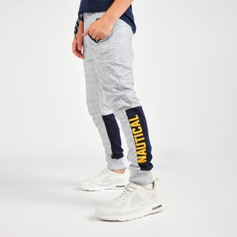 Textured Jog Pants with Side Tape Print and Pocket Detail