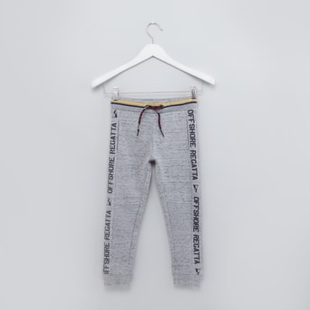 Full Length Jog Pants with Printed Side Tape and Drawstring