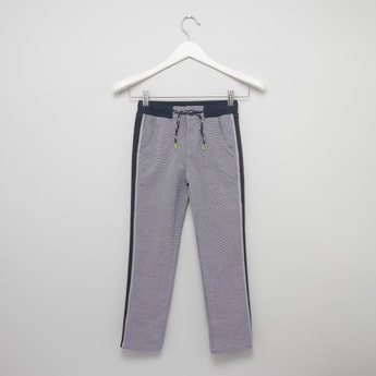 Full Length Textured Pants with Pocket and Tape Detail