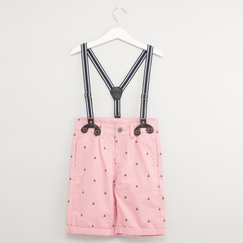 Yacht Print Shorts with Suspenders and Pockets