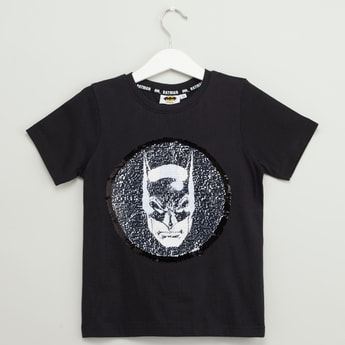 Batman Reversible Sequin Detail T-shirt with Round Neck