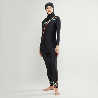 Stripe Detail Burkini with Long Sleeves