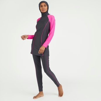 Solid Piping Detail Burkini with Full Length Pants
