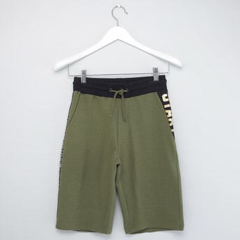 Tapered Print Shorts with Pocket Detail and Drawstring