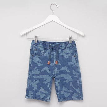Camo Print Denim Shorts with Drawstring Closure