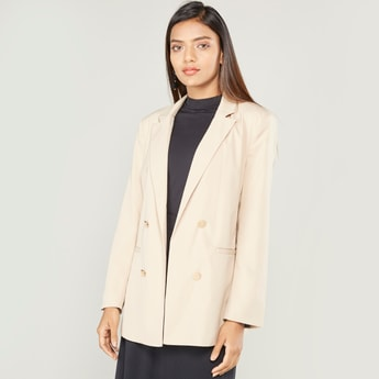 Solid Jacket with Notched Lapel and Long Sleeves