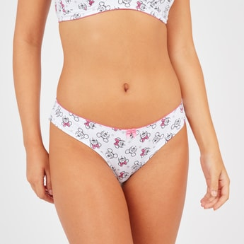 Minnie Mouse Print Hipster Briefs with Bow Applique