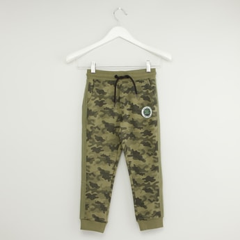 Camo Print Joggers with Pockets and Drawstring Closure