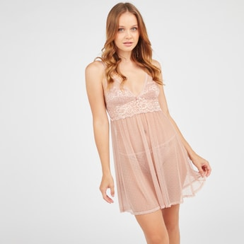 Textured Babydoll with Lace Detail