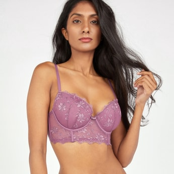 Lace Detail Plunge Bra with Adjustable Straps