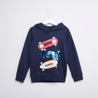 Embellished Hooded Sweatshirt with Long Sleeves