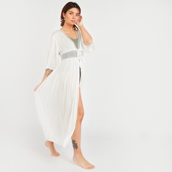 Textured Longline Robe with 3/4 Sleeves and Tie Ups