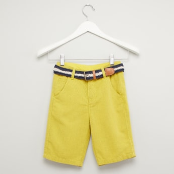 Textured Shorts with Pocket Detail and Belt