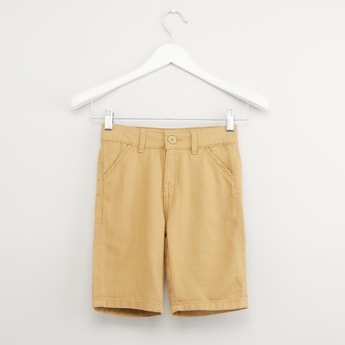 Textured Shorts with Pocket Detail