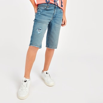 Distressed Denim Shorts with Pocket Detail