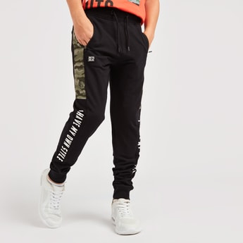 Text Print Jog Pants with Pocket Detail