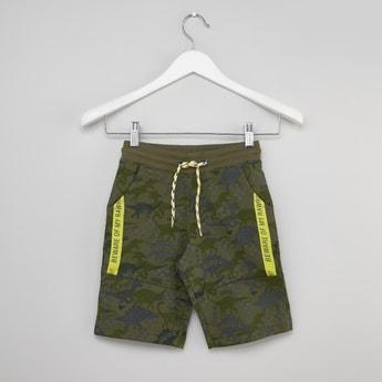 Dino Printed Shorts with Pocket Detail and Drawstring