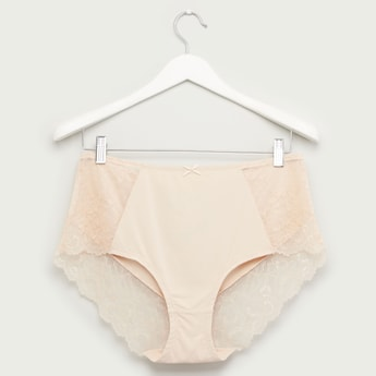 Lace Detail Boyshort Briefs with Bow Applique