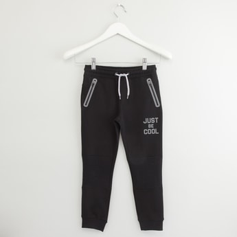 Text Print Joggers with Zippered Pockets and Drawstring Closure