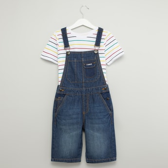 Striped Round T-shirt with Denim Dungarees