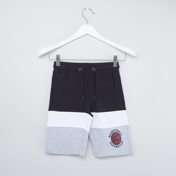 Colour Block Panel Shorts with Drawstring and Pocket Detail