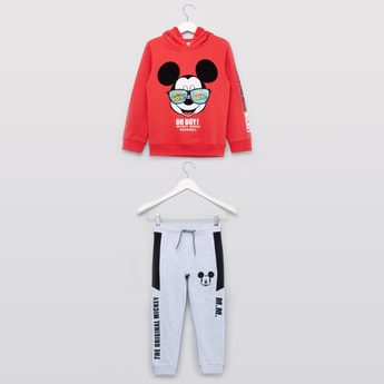 Mickey Mouse Printed Hoodie with Full Length Jog Pants